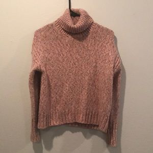Turtle neck pink J Crew cable sweater